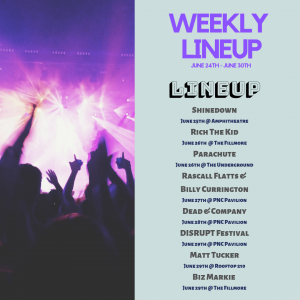 list of concerts in Charlotte, NC week of 6/24/2019