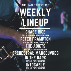 lineup of concerts in charlotte nc week of august 26 2019