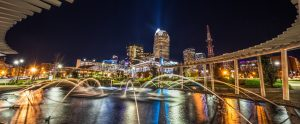 Charlotte, NC skyline with fountains