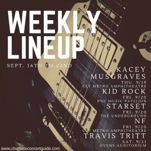 Charlotte concert lineup week of 9/16/2019