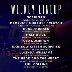 Charlotte concert lineup week of 9/23/2019