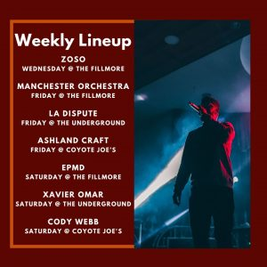 charlotte nc weekly concert lineup week of 11/25/19