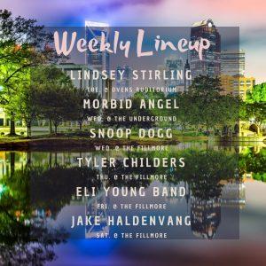 charlotte concert lineup week of 12-16-19