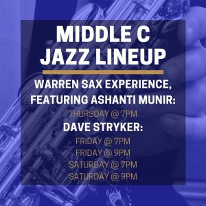 Middle C Jazz concert lineup week of 2/10/2020