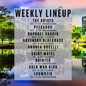 charlotte concert lineup week of 2/3/2020