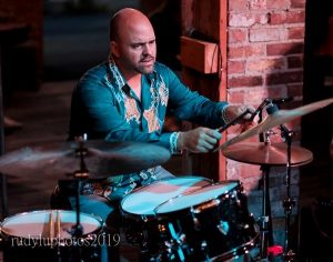 Joe Barna playing drums